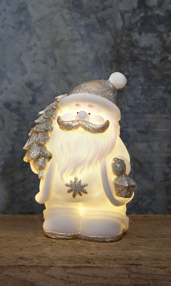 "LED Figur ""Buddy"" - Weihnachtsmann - 4 warmweiße LED - H: 25cm - Batteriebetrieb - weiß/silber"