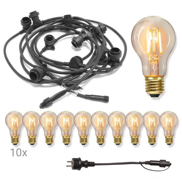 Komplettset CONNECTA BLACK - Lichterkette 7,35m+5m Zuleitung - 10 x Edison LED Leuchtmittel - IP44