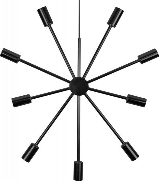 """Hängeleuchte/Sternleuchte """"PIX"""" - 9 Sockel - E14 Fassung - H: 56cm, L: 50cm - schwarz"""