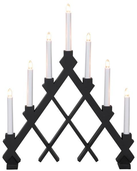 """Fensterleuchter """"Rut"""" - 7flammig - 7 warmweiße Glühlampen - L: 43cm, H: 53cm - Holz - Schwarz"""