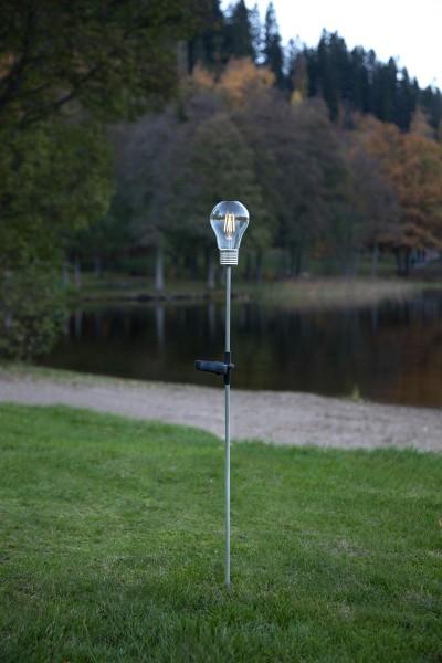 "LED-Solarstab ""Edison""- Edelstahl - Glühbirne - warmweiße Filament LED - H: 80cm - Dämmerungssensor"