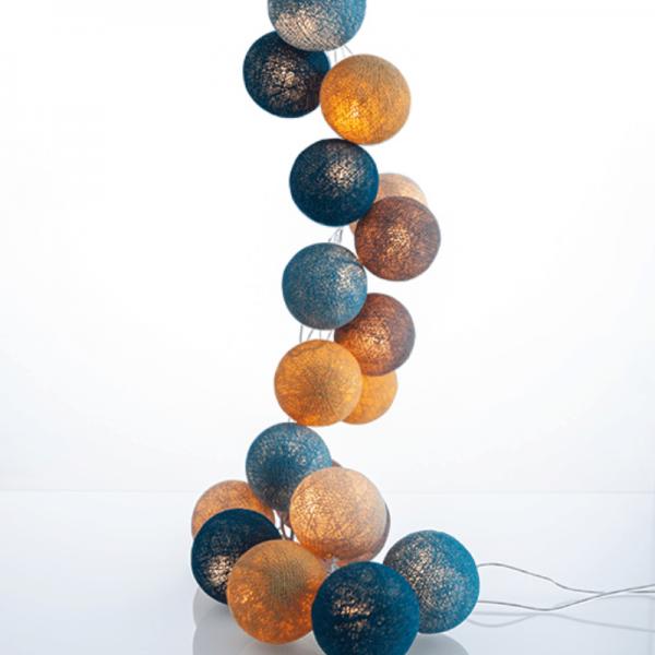 good moods* STRANDGUT - Ball-Lichterkette mit 35 Stoffkugeln - 35 warmweiße LEDs - Geschenkkarton