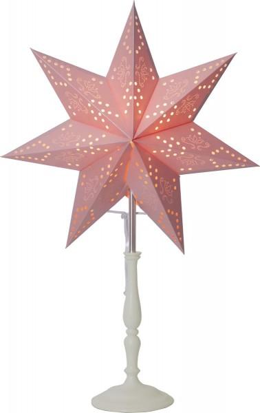 "Standleuchte ""Romantic MiniStar"" Material: Holz/Metall/Papier, Farbe: rosa, ca. 55 cm x 34 cm, Vierfarb-Karton"