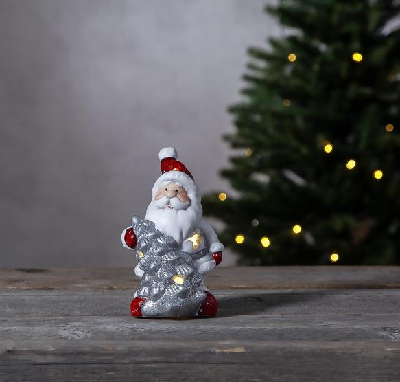 "LED Keramik Figur ""Friends"" - Santa/Weihnachtsmann - 1 warmweiße LED - H: 14cm - Batteriebetrieb"