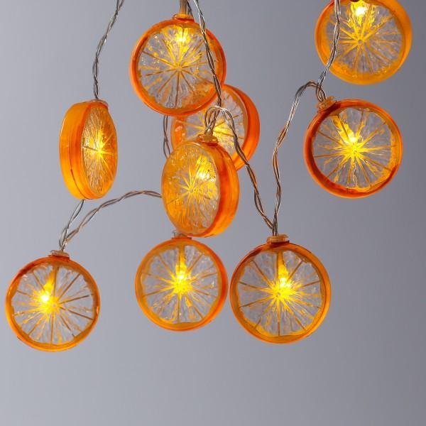 LED Lichterkette ORANGE - 10 Orangenscheiben - warmweiße LED - Batteriebetrieb - L: 90cm - orange