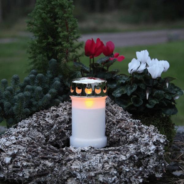 """LED Novenkerze """"Serene"""" - Grabkerze - flackernde gelbe LED - H: 14cm - weiß/gold"""