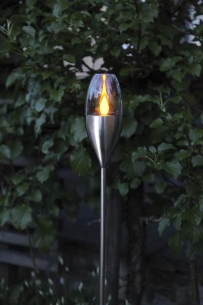 LED Gartenfackel TOULON SOLAR - Edelstahlspieß silber - Sensor - 110cm - >6h
