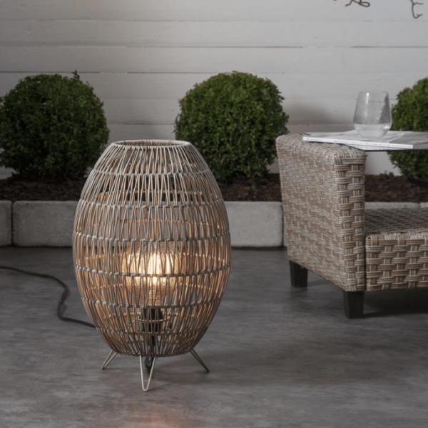 Dekoleuchte/Lampenschirm aus Rattan - D: 30cm, H: 46cm - für E27 Fassungen - outdoor - beige