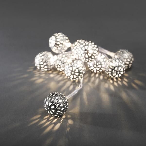 LED Dekolichterkette silberne Metallbälle - L: 90cm - 10 warmweiße LED - D: 2,5cm - Batteriebetrieb