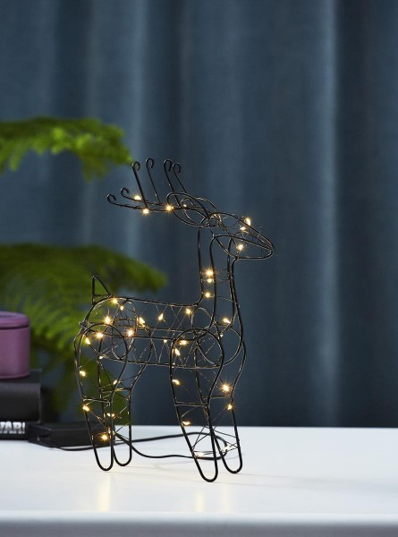 """LED-Leuchtfigur """"Indy"""" - Rentier - 40 warmweiße LEDs - H: 29,5cm - Batteriebetrieb - Timer -schwarz"""