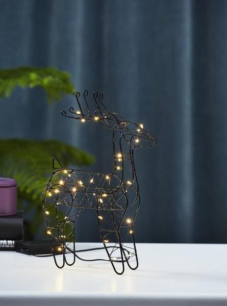 "LED-Leuchtfigur ""Indy"", Rentier - 40 warmweiße LED - H: 29,5cm  - Material: Metall - schwarz"
