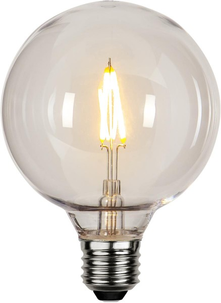 "Decoration LED ""Party Filament"" - E27 - Big Globe klar - Polycarbonat - 2700K - 80lm - D: 9,5cm - 230V"