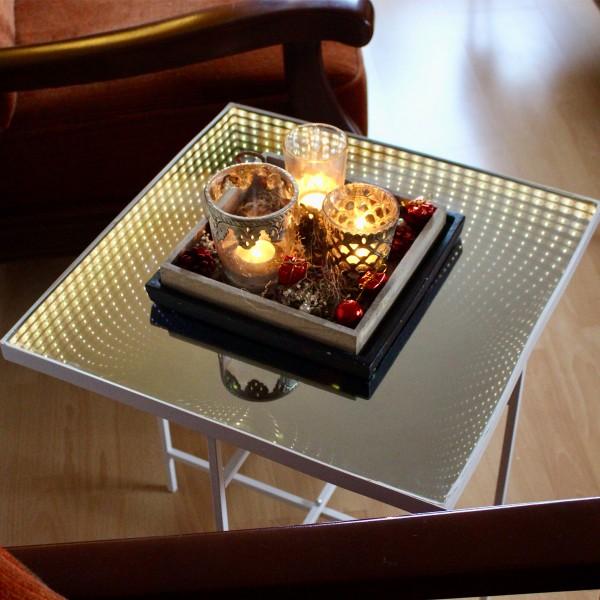 LED-Tisch WARP - Quadrat 50cm Endlos-Optik - Infinity Spiegeltisch mit LED - Batterie - Timer