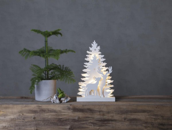 """LED-Fensterleuchter """"Fauna"""", Rentiere 10 warmwhite LED, Material: Holz Farbe: weiss, ca. 44 cm x 28 cm Batterie, Vierfarb-Karton"""