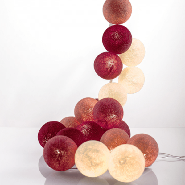 good moods* PRETTY IN PINK - Ball-Lichterkette mit 35 Stoffkugeln - 35 warmweiße LEDs