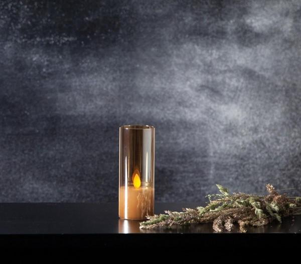 LED Windlicht - TWINKLE - Kerze im goldbraunem Glas - H: 12,5cm - D: 5cm - Timer - bewegte Flamme