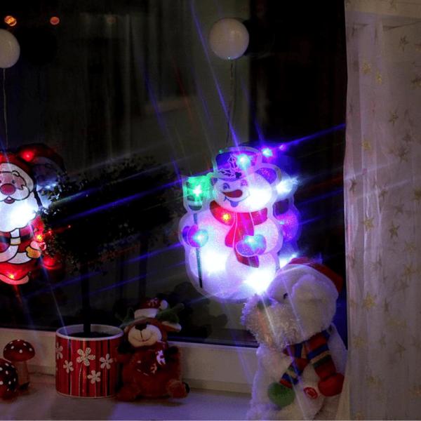 """LED-Fensterdeko mit Saugnapf """"Glitzy der Schneemann"""" - Kunststoff - 26,5 x17,5cm - batteriebetrieben"""