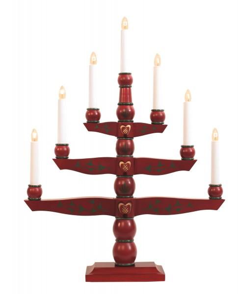 """Kerzenleuchter """"Tradition"""" - 7 Arme - warmweiße Glühlampen - H: 54cm, L: 42cm - Schalter - Rot"""