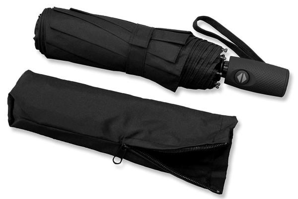 RADOLEO® Schwarzer Taschenschirm | Premium Auf-Zu-Automatik | bis 140 km/h | Teflonbeschichtung | in