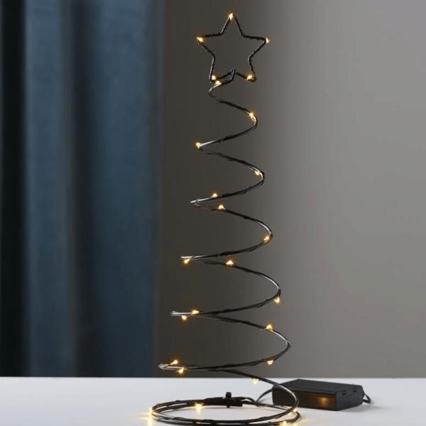 "LED-Dekoleuchte ""Dizzytree"" - 30 warmweiße LEDs - H: 40cm - Batteriebetrieb - Metall - schwarz"