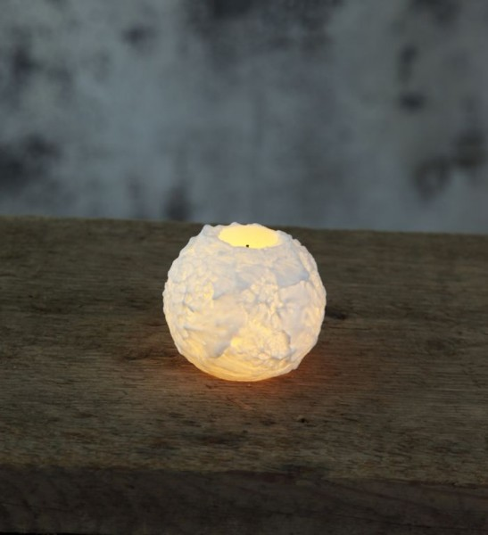 LED-Kerze | Echtwachs | Snowta | flackernde LED | Timer | Weiß | →7.5cm | ↑6.5cm