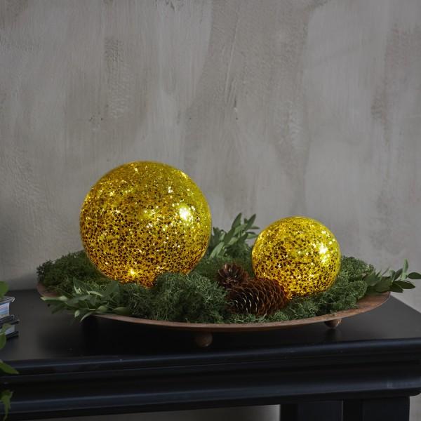 LED Glaskugel Sternendekor - 10 warmweiße LED - D: 9cm - Batterie - Timer - für Innen - gold