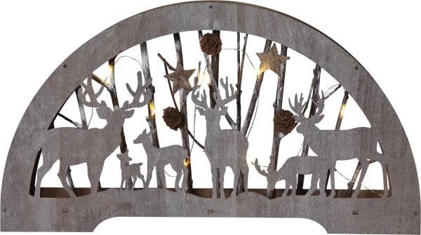 """LED-Fensterleuchter """"Fauna"""" - Rentiere mit Zweigen - 10 warmweiße LED - Batteriebetrieb - braun"""