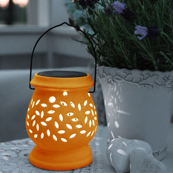 LED Solar Laterne CLAY- kaltweiße LED - H: 14cm - D: 11cm - Dämmerungssensor - Terrakotta