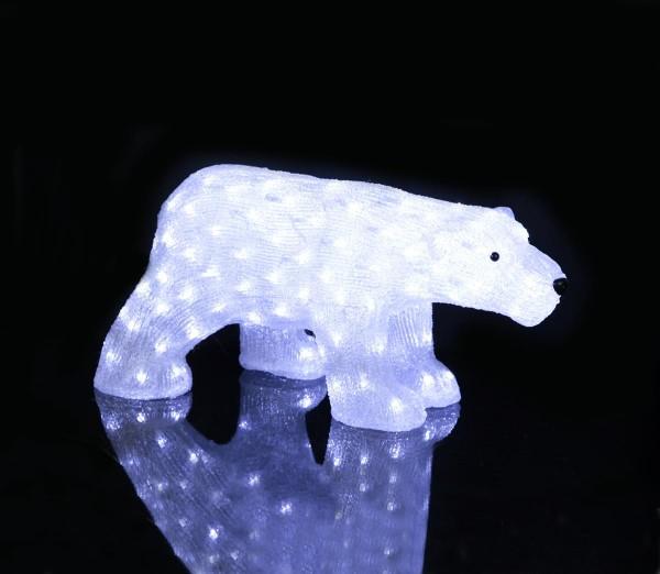 "LED-Acrylbär ""Crystal Bear"" - 130 kaltweiße LED - H: 30cm - stehend - outdoor - Eisbär Figur"