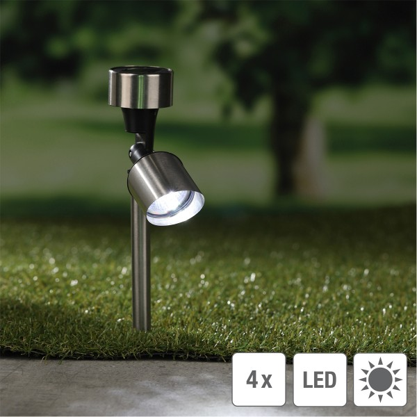 LED Solar Strahler/Gartenspot - Edelstahl - je 1 kaltweiße LED - H: 35,5cm - 4er Set