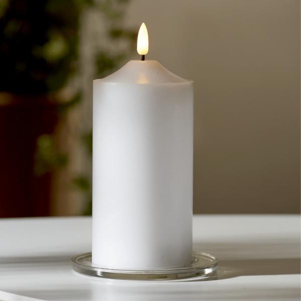 """LED Stumpenkerze """"Flamme"""" - Echtwachs - warmweiße 3D Flamme - H: 17cm - Batteriebetrieb - Timer"""