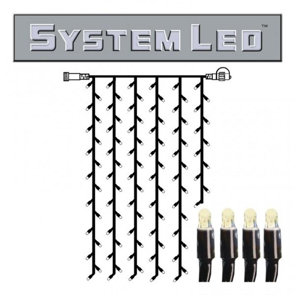 System LED Black | Lichtvorhang | koppelbar | exkl. Trafo | 1.00m x 2.00m | 102x Warmweiß