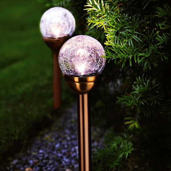 LED Solar Wegleuchte - kaltweiße LED - H: 26,5cm- Dämmerungssensor - kupferfarben - 2er Set
