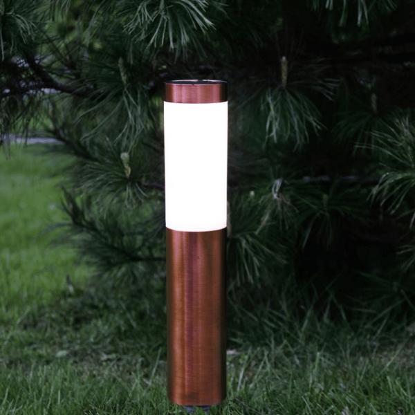 "LED Solar Wegleuchte ""Cordoba"" - Edelstahl - warmweiße LED - 20lm - Dämmerungsensor - kupferfarben"