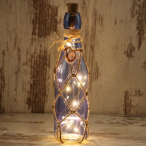 LED Dekoflasche MARITIM mit Juteseil - 10 warmweiße LED an Drahtlichterkette - H: 28cm - dunkelblau