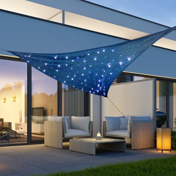 Solar Sonnensegel STERNENHIMMEL - kaltweiße LED - 3,6 x 3,6 x 3,6m - UV 50 - Dreieck - blau, schwarz