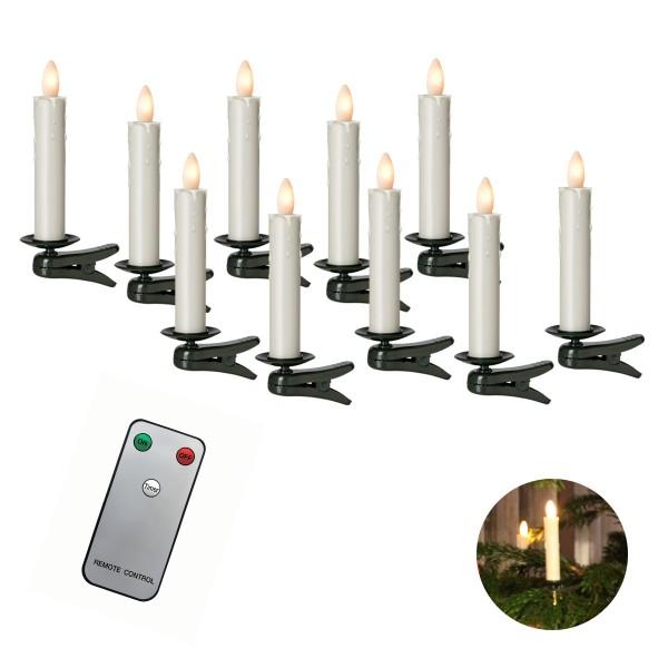 10er LED Baumkerze SHINE outdoor | elfenbein | D: 2cm H: 13cm | inkl Fernbedienung | Timer