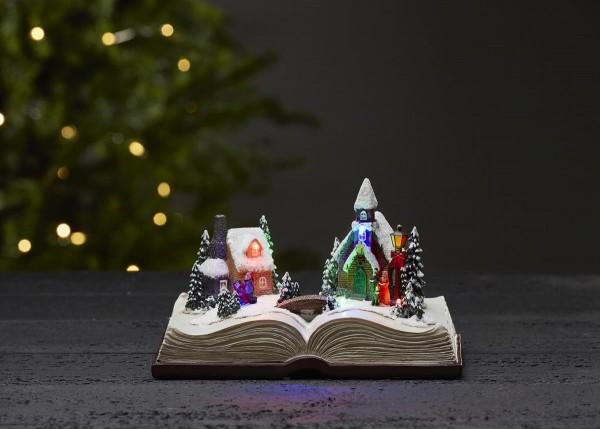 "LED-Weihnachtszene ""Bookville"" - 6 bunte LED - Farbe: bunt, im Buch - ↑13cm"