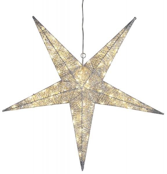 "LED-Stern ""Sequini"" - 72 warmweiße LEDs - D: 75cm - silberne Baumwollfäden - Outdoor"