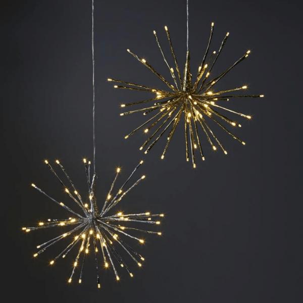 "3D-LED-Hängestern ""Firework"" - D: 40cm - golden mit 80 warmweißen LED - Programme - Outdoor"