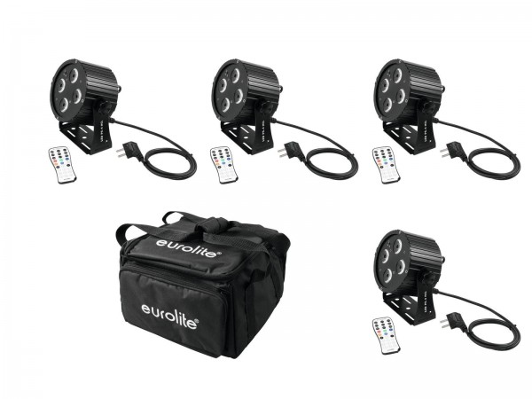 4 mobile LED Scheinwerfer Set - 4 12W LED PS-4 HCL Spot - inkl. 4er Soft-Bag (DMX, Auto, Sound, IR)