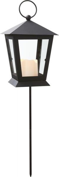 """LED Laterne """"Serene"""", mit Stab - schwarz - gelbe LED - H: 40cm D: 12cm - Timer"""