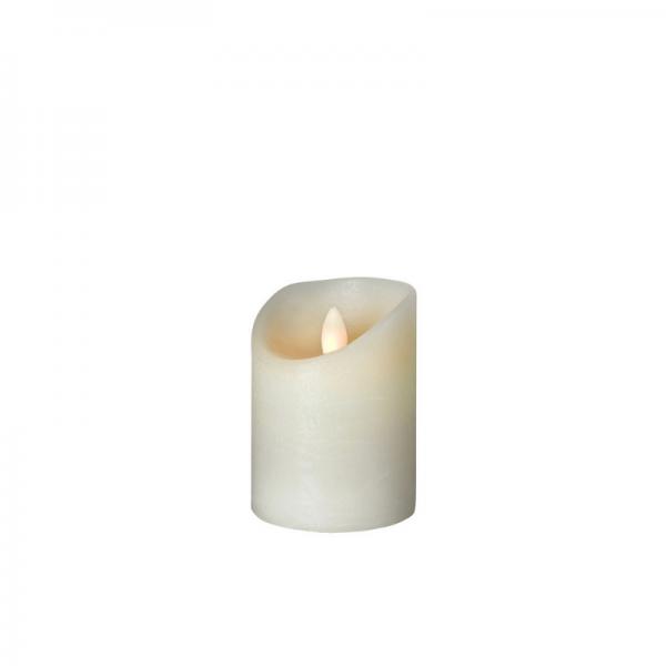 SOMPEX LED Wachskerze SHINE | elfenbein | gefrostet | D: 7,5cm H: 10cm | fernbedienbar | Timer