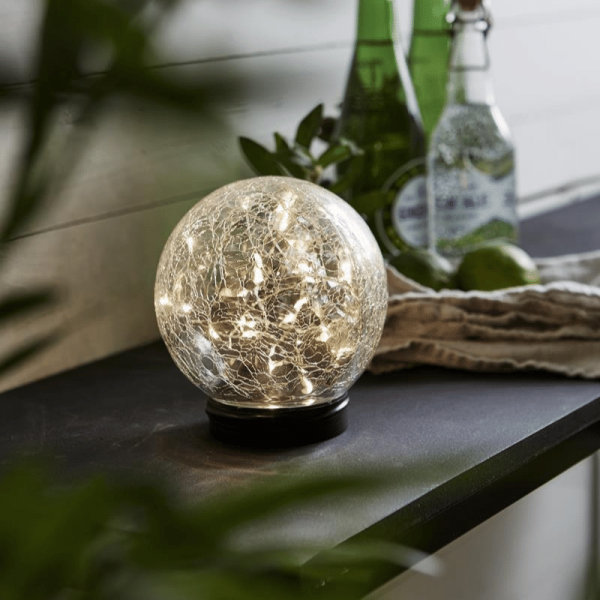 "LED Solar Kugel ""Glory"" - transparentes Bruchglas - 30 warmweise LED - D: 12cm - Dämmerungssensor"