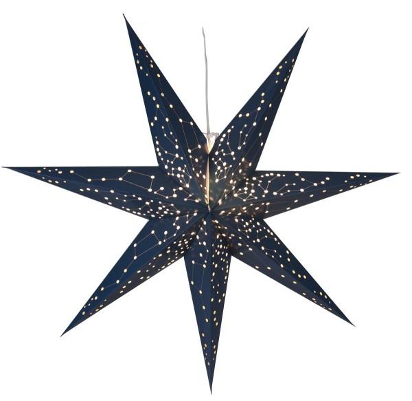 """Papierstern """"Galaxy"""" - mit Sternenbildern - hängend - 7-zackig - Ø 100 cm - inkl. Kabel - blau"""