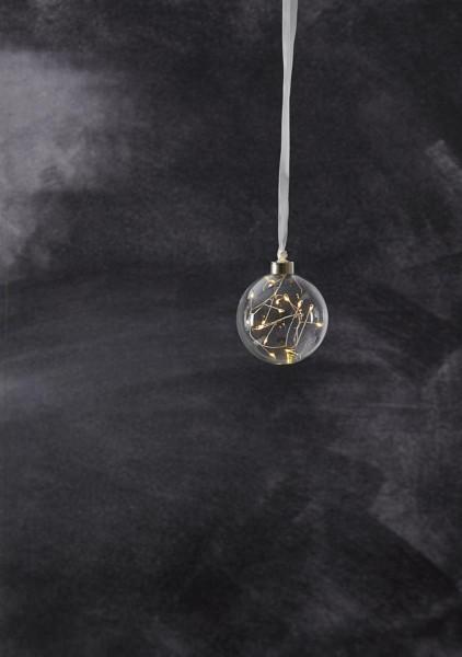 Glaskugel GLOW - klares Glas - 15 warmweiße LED am Draht - D: ca. 10cm - Batteriebetrieb - Timer