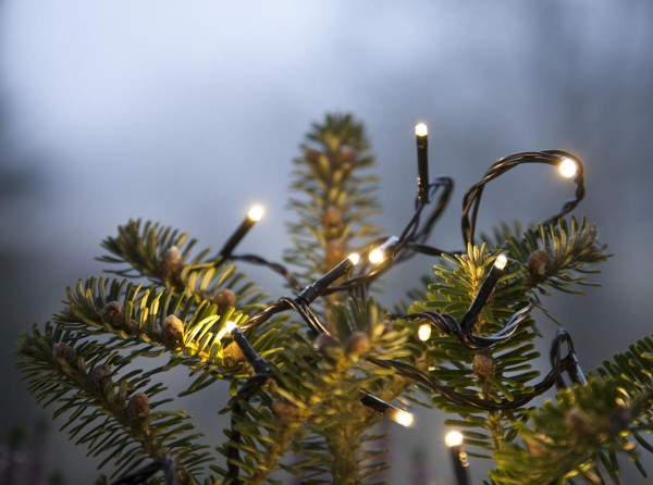 Lichterkette | Serie MICROLED 3mm | 18m | schwarzes Kabel | 180 warmweiße LEDs | Trafo