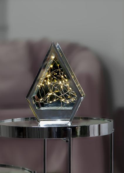 "LED Glasdeko ""Pentacone"" - 20 warmweiße LED - Batteriebetrieb - Timer - silber/glas"