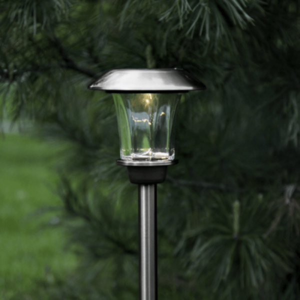 "LED-Solar-Wegleuchte - ""Granada"" - Edelstahl - →15 x ↑48cm - 1x Warmweiß - Dämmerungssensor"