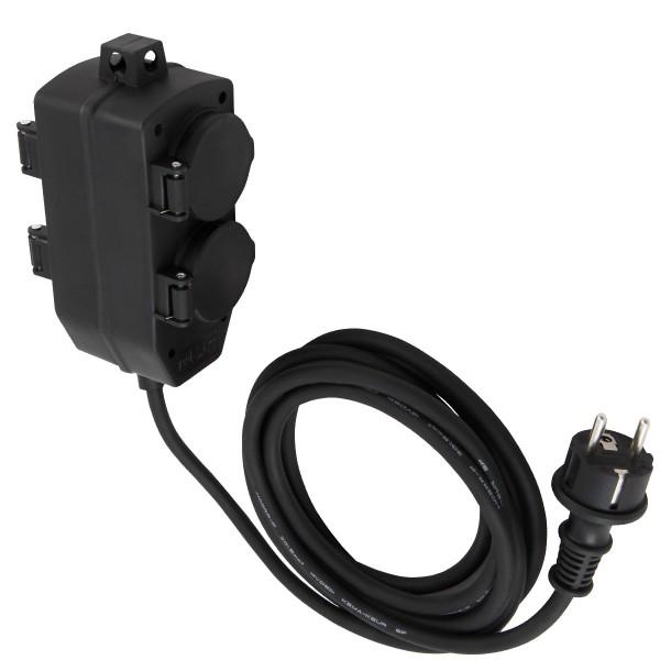 Stromkabel / Verlängerung mit 4-Fach Block - Schutzkontakt - OutdoorIP44 - 3x1,5mm²   3m Zuleitung